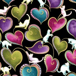Cat-I-tude Hearts and Cats Black/Multi 4202M-12