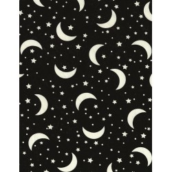 Novelty Juvenile Glow-In-The-Dark Crescent Moon & Stars CG5530 Moon Black
