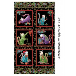 Cat-I-tude Christmas Holly Panel Black/Multi 6740M-12